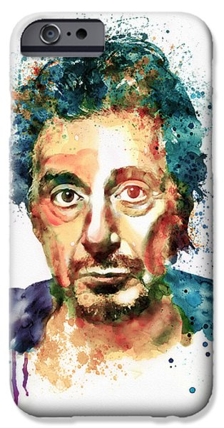 Al Pacino iPhone Cases - Al Pacino Watercolor portrait iPhone Case by Marian Voicu