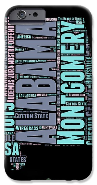 4th July Mixed Media iPhone Cases - Alabama Word Cloud 1 iPhone Case by Naxart Studio