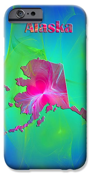 Colorful Abstract iPhone Cases - Alaska Map iPhone Case by Roger Wedegis