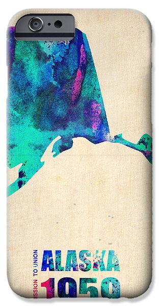 Home iPhone Cases - Alaska Watercolor Map iPhone Case by Naxart Studio