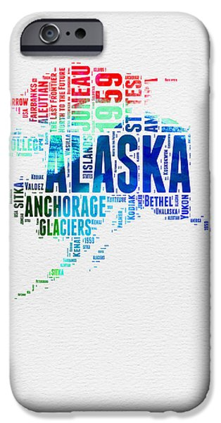 4th July Mixed Media iPhone Cases - Alaska Watercolor Word Cloud  iPhone Case by Naxart Studio