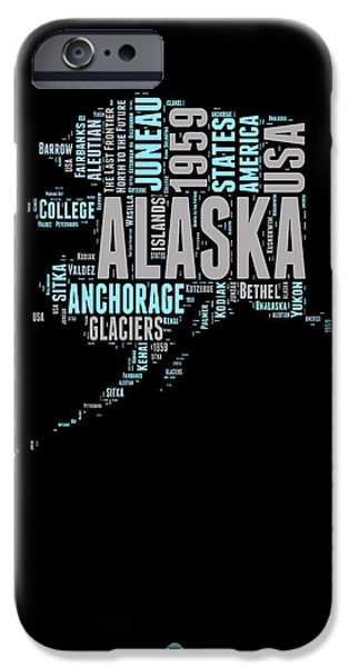 4th July Mixed Media iPhone Cases - Alaska Word Cloud 1 iPhone Case by Naxart Studio