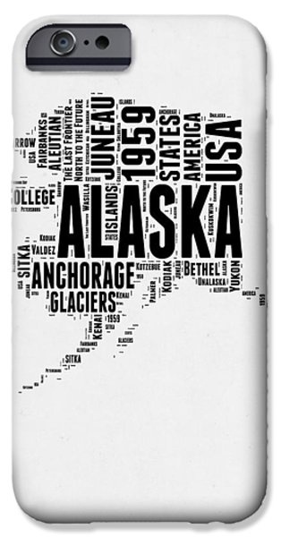 4th July iPhone Cases - Alaska Word Cloud 2 iPhone Case by Naxart Studio