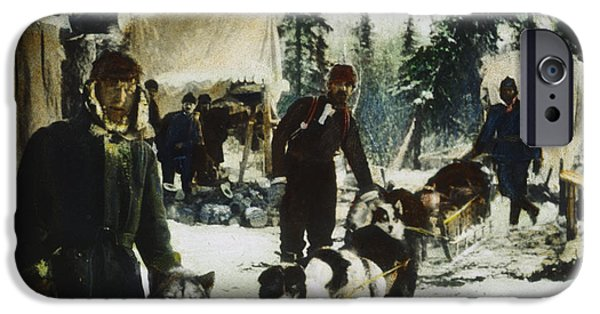 Husky iPhone Cases - ALASKAN DOG SLED, c1900 iPhone Case by Granger
