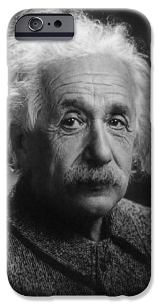 American History Pyrography iPhone Cases - Albert Einstein, 1947. Age 68. iPhone Case by Artistic Panda