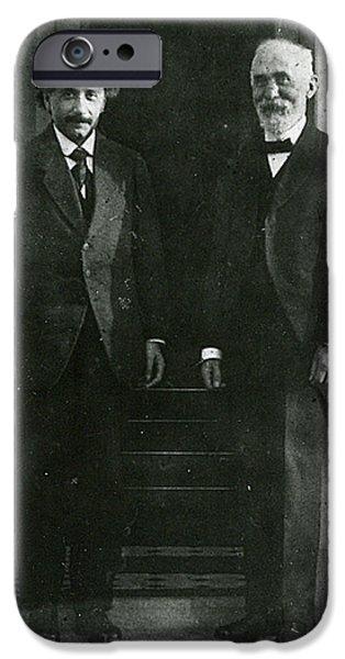 American History Pyrography iPhone Cases - Albert Einstein and Hendrik Antoon Lorentz iPhone Case by Artistic Panda