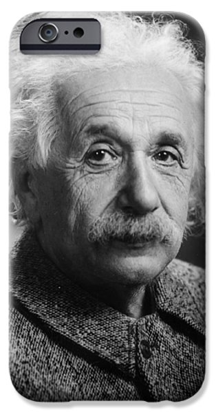 American History Pyrography iPhone Cases - Albert Einstein iPhone Case by Artistic Panda