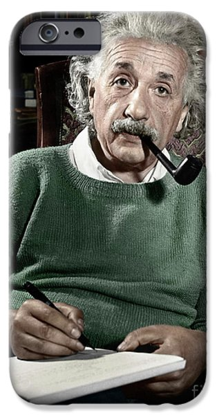 Portrait iPhone Cases - Albert Einstein iPhone Case by Granger