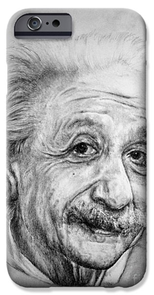 Einstein Drawings iPhone Cases - Albert iPhone Case by Roy Kaelin