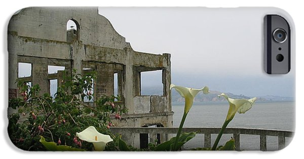 Alcatraz Mixed Media iPhone Cases - Alcatraz Flowers iPhone Case by Frederick Holiday