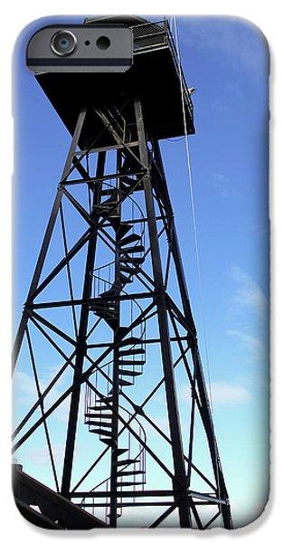 Alcatraz iPhone Cases - Alcatraz Guard Tower - San Francisco iPhone Case by Daniel Hagerman