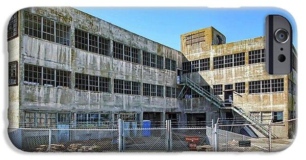 Alcatraz iPhone Cases - ALCATRAZ MODEL INDUSTRIES Murder BLDG iPhone Case by Daniel Hagerman