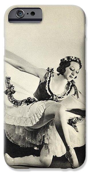 Ballet Dancers iPhone Cases - Aleksandra Dionisyevna Danilova 1903 iPhone Case by Ken Welsh
