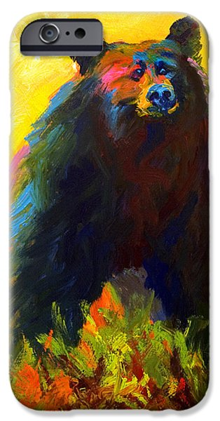 Cubs iPhone Cases - Alert - Black Bear iPhone Case by Marion Rose