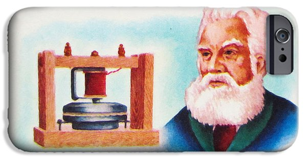 Mechanism Paintings iPhone Cases - Alexander Graham Bell 1847-1922 iPhone Case by Lanjee Chee