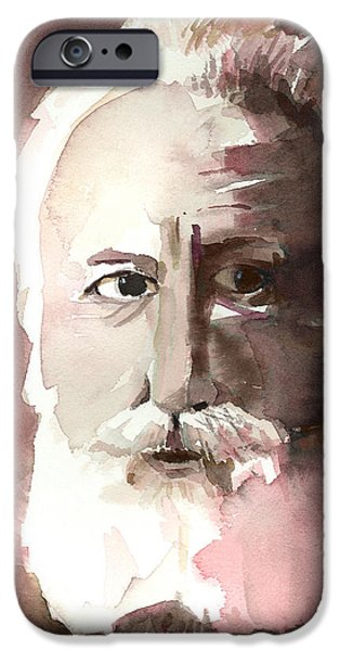 Monotone Paintings iPhone Cases - Alexander Graham Bell iPhone Case by Arline Wagner