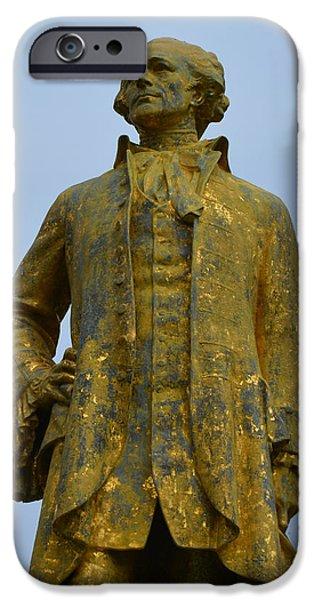 Statue Portrait iPhone Cases - Alexander Hamilton Monument iPhone Case by Richard Andrews