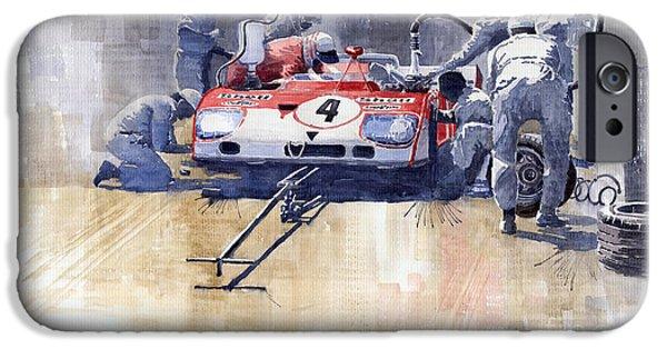 Racing iPhone Cases - Alfa Romeo T33 TT3 1972 Targa Florio  iPhone Case by Yuriy  Shevchuk