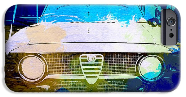 Vintage Car iPhone Cases - Alfa Romeo watercolor iPhone Case by Naxart Studio