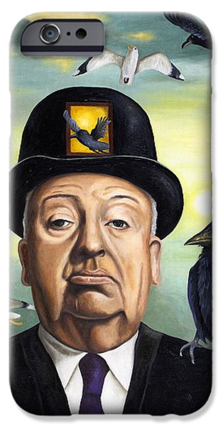 Alfred Hitchcock iPhone Case by Leah Saulnier The Painting Maniac
