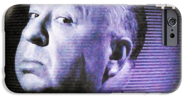 1950s Portraits iPhone Cases - Alfred Hitchcock Presents iPhone Case by Lanjee Chee
