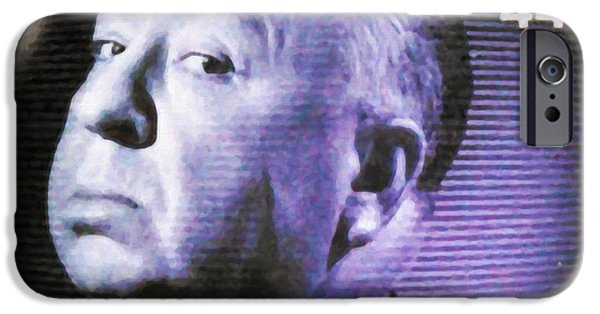 1950s Portraits Paintings iPhone Cases - Alfred Hitchcock Presents iPhone Case by Lanjee Chee