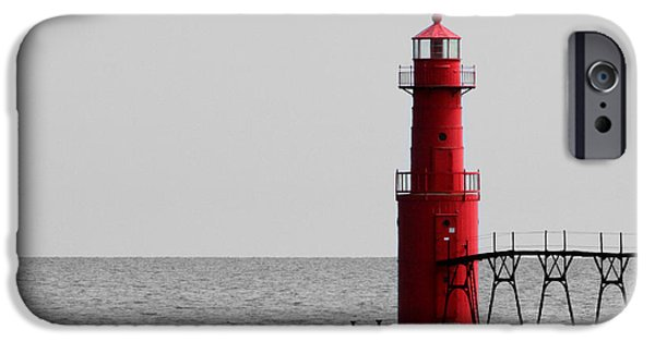 Recently Sold -  - Beauty Mark iPhone Cases - Algoma Lighthouse bwc iPhone Case by Mark J Seefeldt
