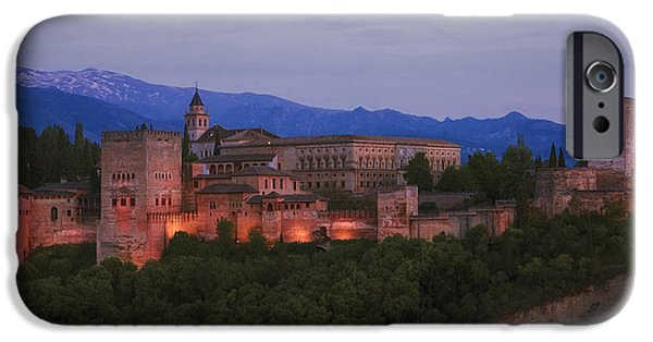 Snowy Night iPhone Cases - Alhambra Granada Dusk iPhone Case by Joan Carroll