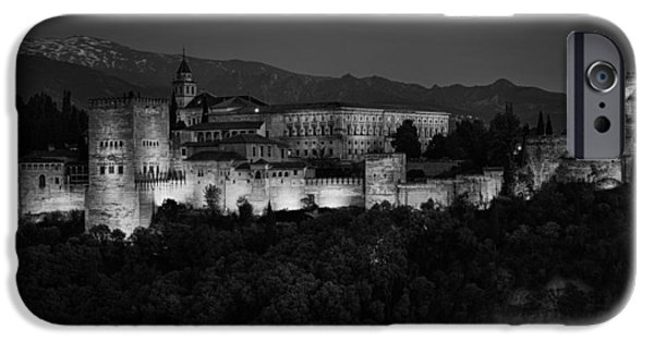 Snowy Night iPhone Cases - Alhambra Sunset BW iPhone Case by Joan Carroll