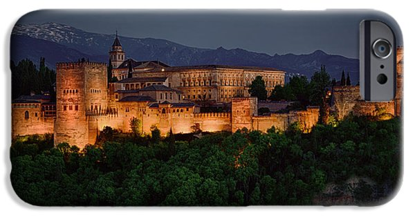 Snowy Night iPhone Cases - Alhambra Sunset iPhone Case by Joan Carroll