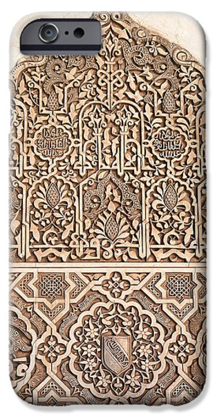 Muslim iPhone Cases - Alhambra wall panel detail iPhone Case by Jane Rix