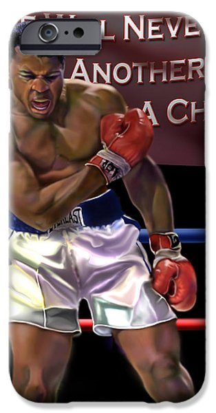 Ali - More Than A Champion iPhone Case by Reggie Duffie