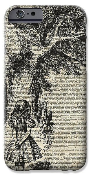 Tree Art Print iPhone Cases - Alice and cheshire cat iPhone Case by Jacob Kuch