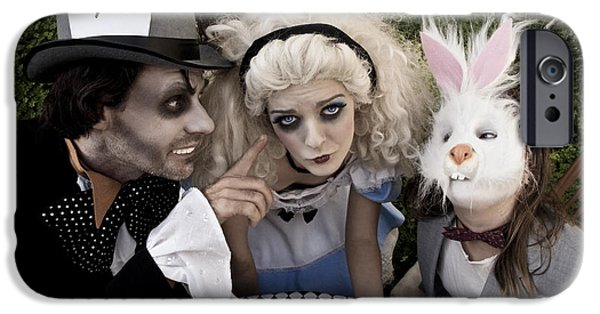 Mad Hatter iPhone Cases - Alice and Friends 2 iPhone Case by Kelly Jade King