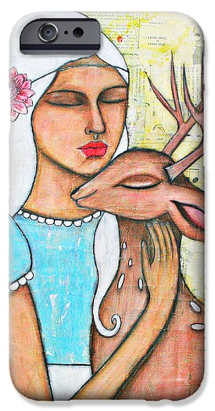 Alice In Wonderland iPhone Cases - Alice and the Fawn iPhone Case by Natalie Briney