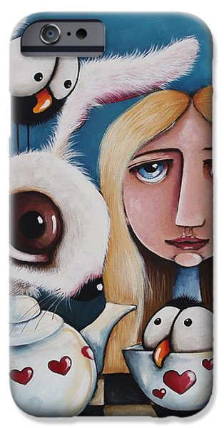 Wonderland Art iPhone Cases - Alice and the white rabbit iPhone Case by Lucia Stewart