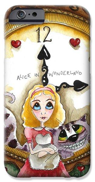Alice In Wonderland Paintings iPhone Cases - Alice in Wonderland Tick Tock iPhone Case by Lucia Stewart
