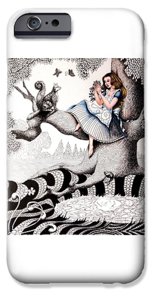 Alice In Wonderland iPhone Cases - Alice in Wonderland Zentangle iPhone Case by Lorraina Dreamscapes