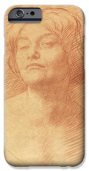 Sign Pastels iPhone Cases - Alice Knewstub iPhone Case by Alphonse Legros