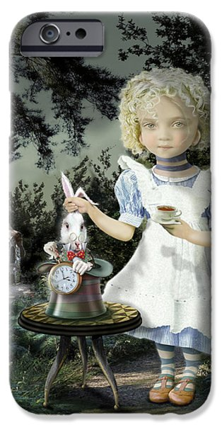 Alice In Wonderland iPhone Cases - Alice Tea Time iPhone Case by Russel Ball