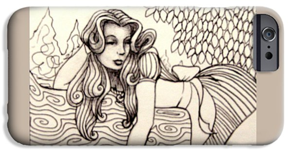 Alice In Wonderland iPhone Cases - Alice Zentangle II iPhone Case by Lorraina Dreamscapes
