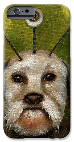 Alien Dog iPhone Case by Leah Saulnier The Painting Maniac