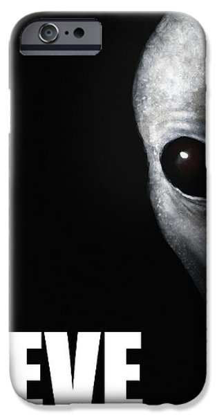 Alien Grey - Believe iPhone Case by Pixel Chimp