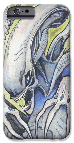 Aceo iPhone Cases - Alien Movie Creature iPhone Case by Amy S Turner