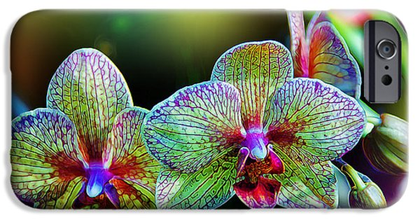 Glowing iPhone Cases - Alien Orchids iPhone Case by Bill Tiepelman