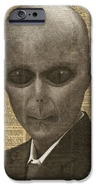Dismay iPhone Cases - Alien over Dictionary Page iPhone Case by Jacob Kuch