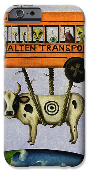 Alien Transport System iPhone Case by Leah Saulnier The Painting Maniac