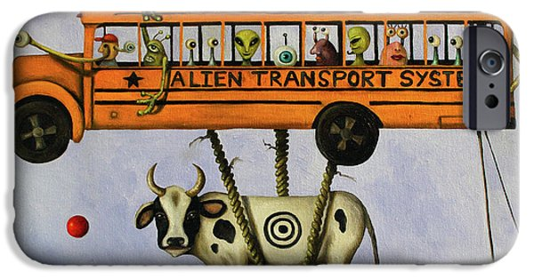 Interstellar Space Paintings iPhone Cases - Alien Transport System iPhone Case by Leah Saulnier The Painting Maniac