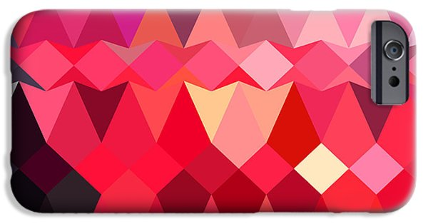 Mosaic iPhone Cases - Alizarin Crimson Abstract Low Polygon Background iPhone Case by Aloysius Patrimonio