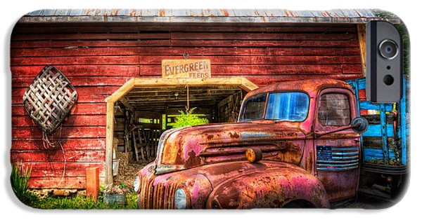 Old Cars iPhone Cases - All American Ford iPhone Case by Debra and Dave Vanderlaan
